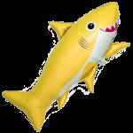 Шар (39''/99 см) Фигура, Счастливая акула, Желтый, 1 шт.